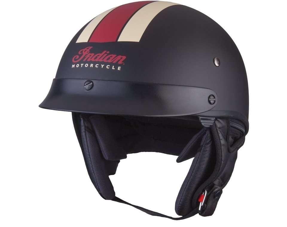 Half Helmet with Retro Racing Stripe, Black