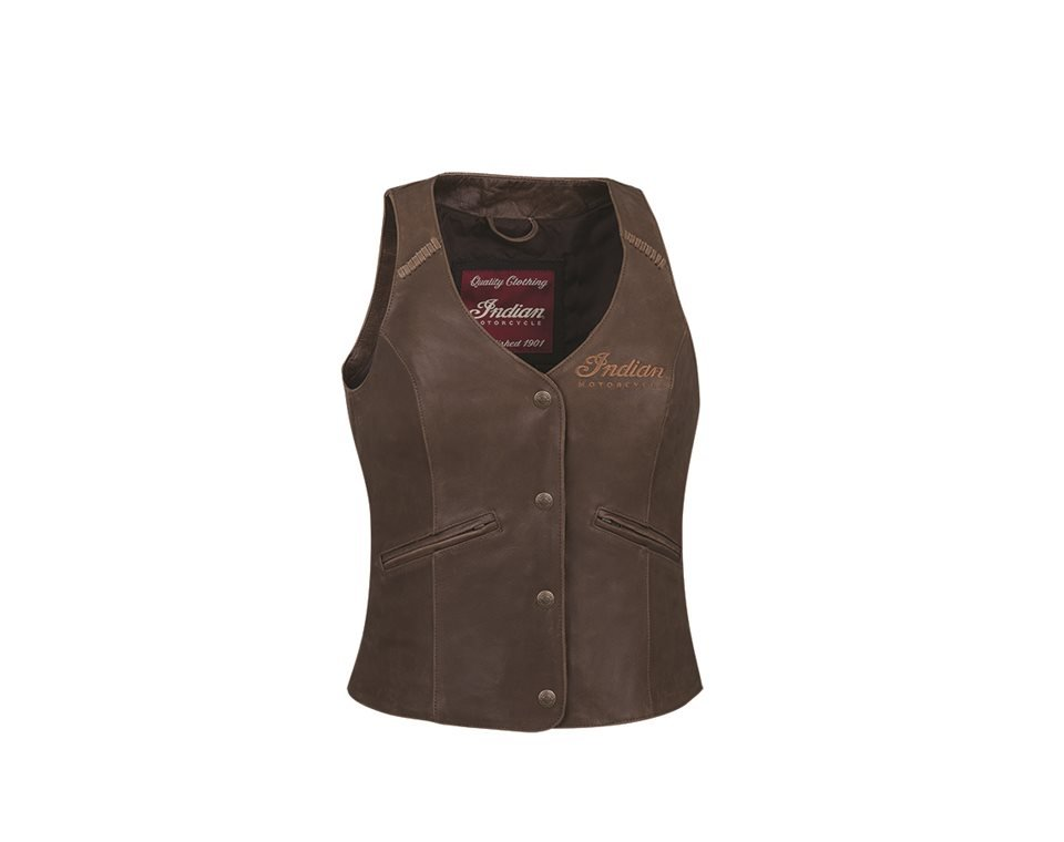 Women's Vintage Leather Vest, Brown