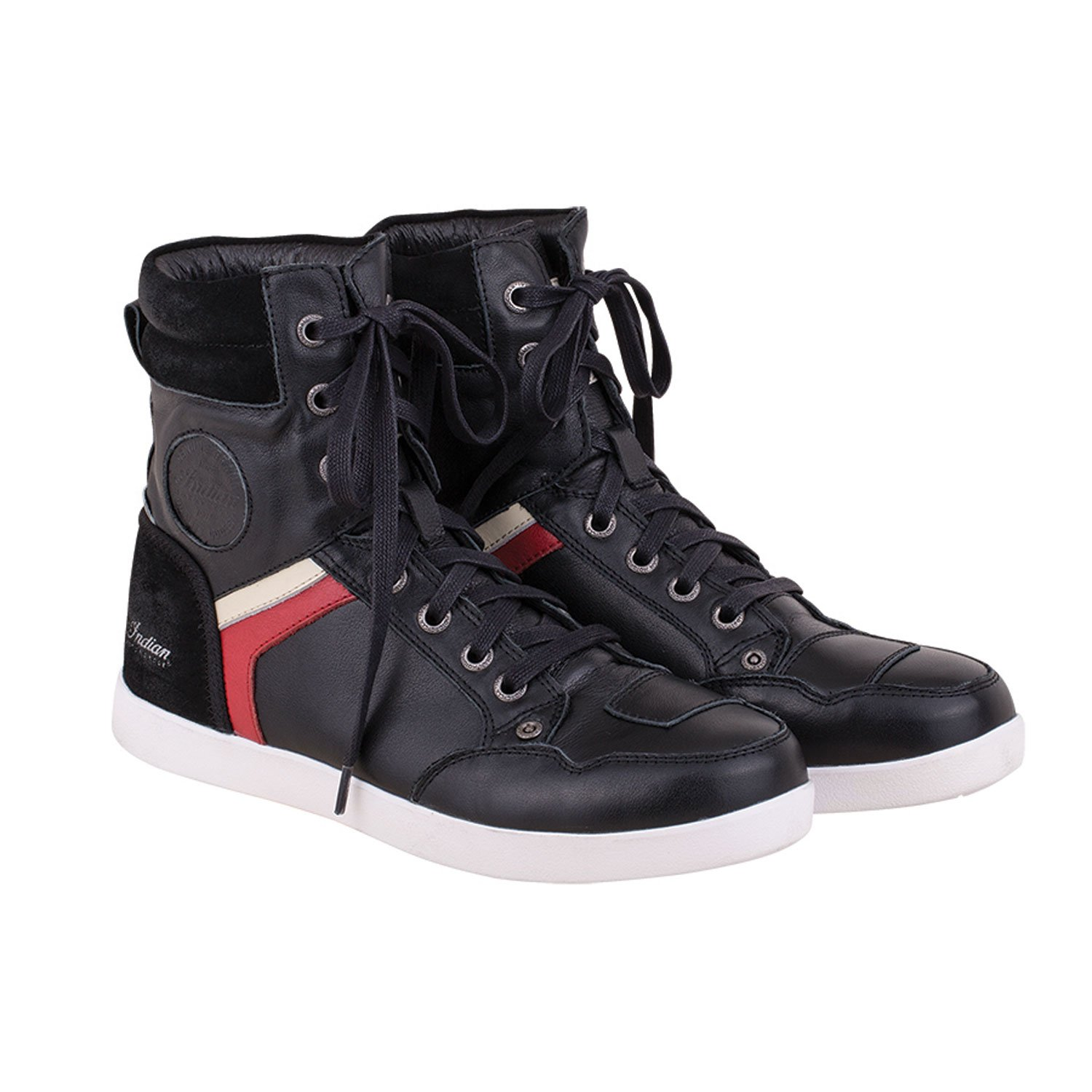 Men's Leather High-Top Riding Sneakers, Black