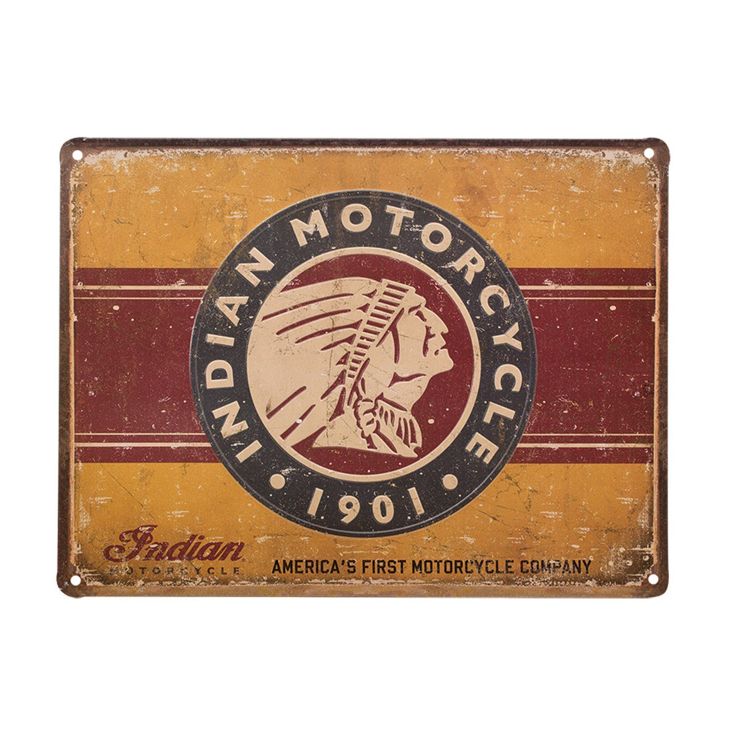 First Motorcycle Embossed Metal Sign
