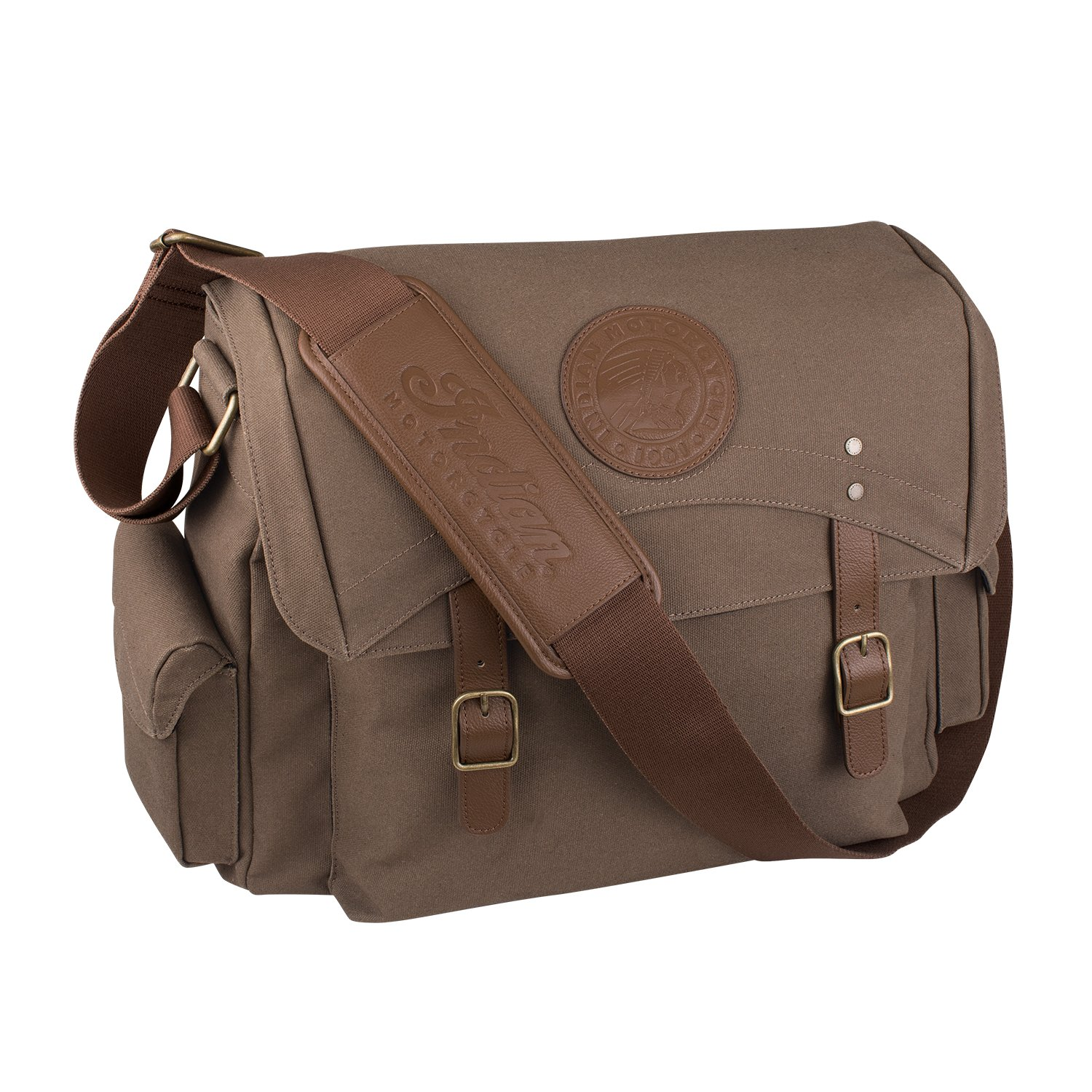 Waxed Cotton Messenger Bag, Olive