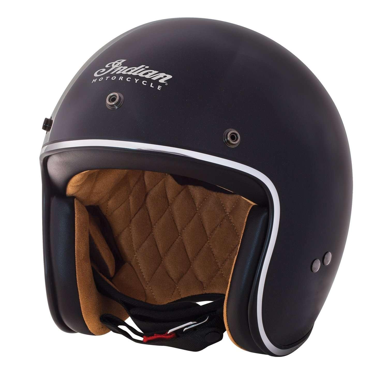 Open Face Retro Helmet, Gloss Black/White