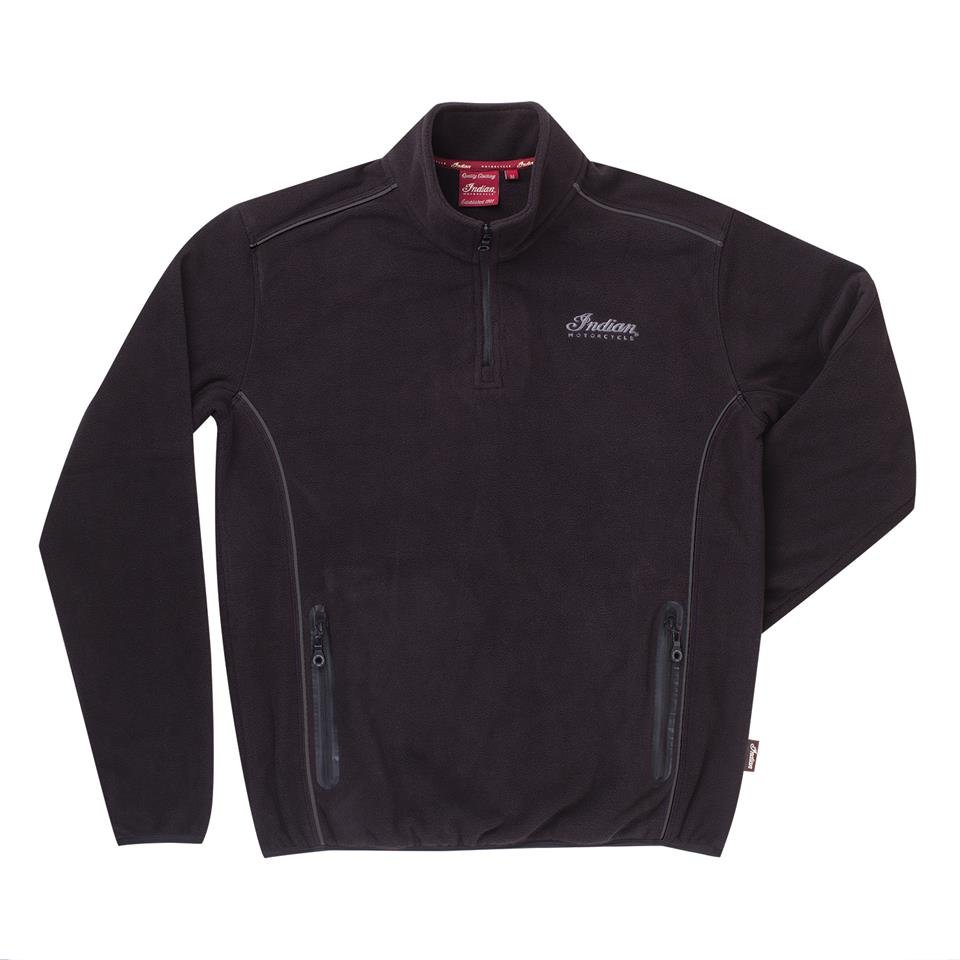 Men's Quarter-Zip Fleece with Embroidered Logo, Black
