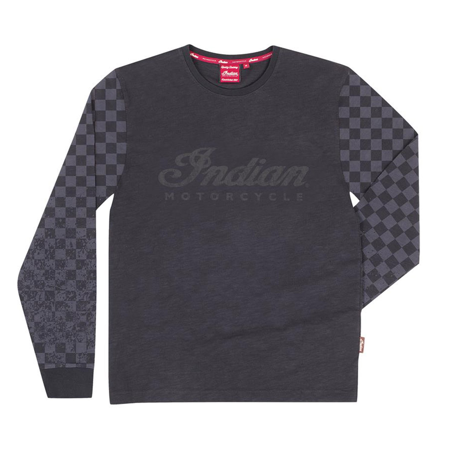 Men's Long-Sleeve T-Shirt with Checkered Sleeves, Black