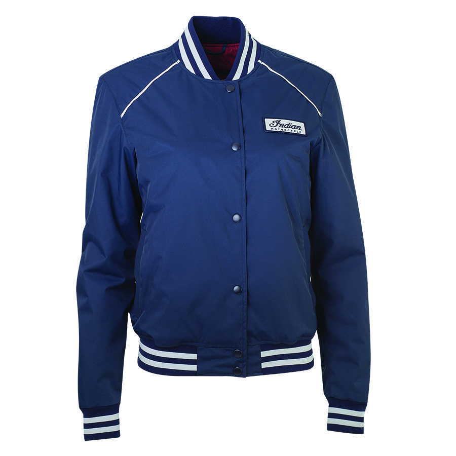 Women's Casual Retro Bomber Jacket, Navy