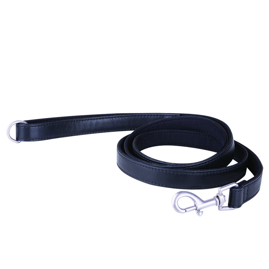 Leather Dog Leash Embossed Branding, Black
