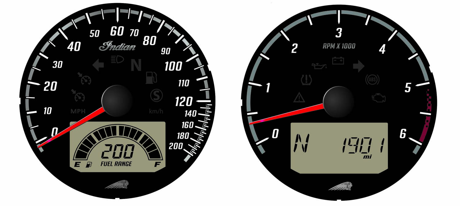 Black Dial Face Speedometer and Tachometer