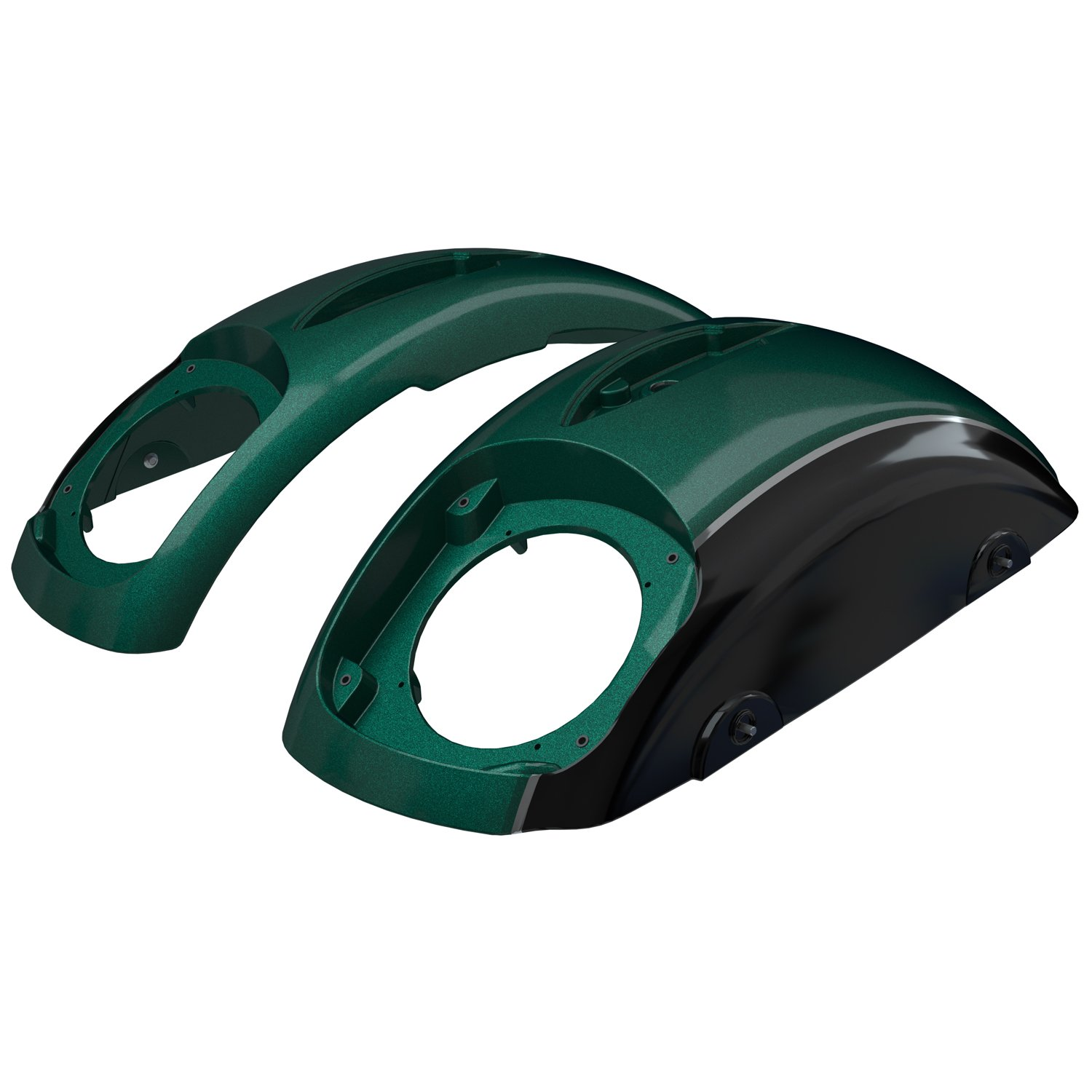 PowerBand™ Audio Classic Saddlebag Speaker Lids – Metallic Jade Green over Thunder Black