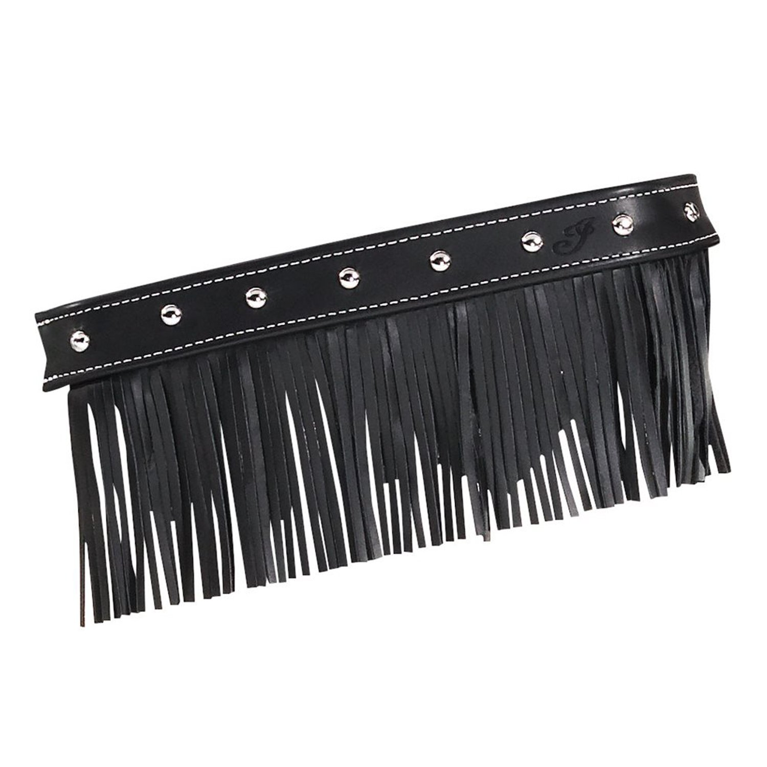 Genuine Leather Floorboard Trim With Fringe – Black w/ Studs