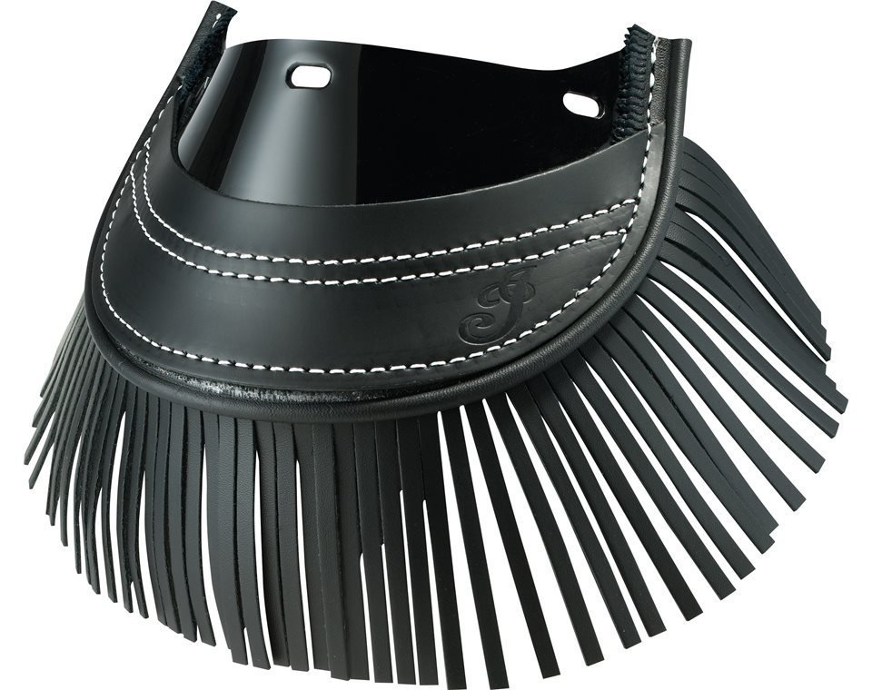 Genuine Leather Front Mud Flap With Fringe – Black