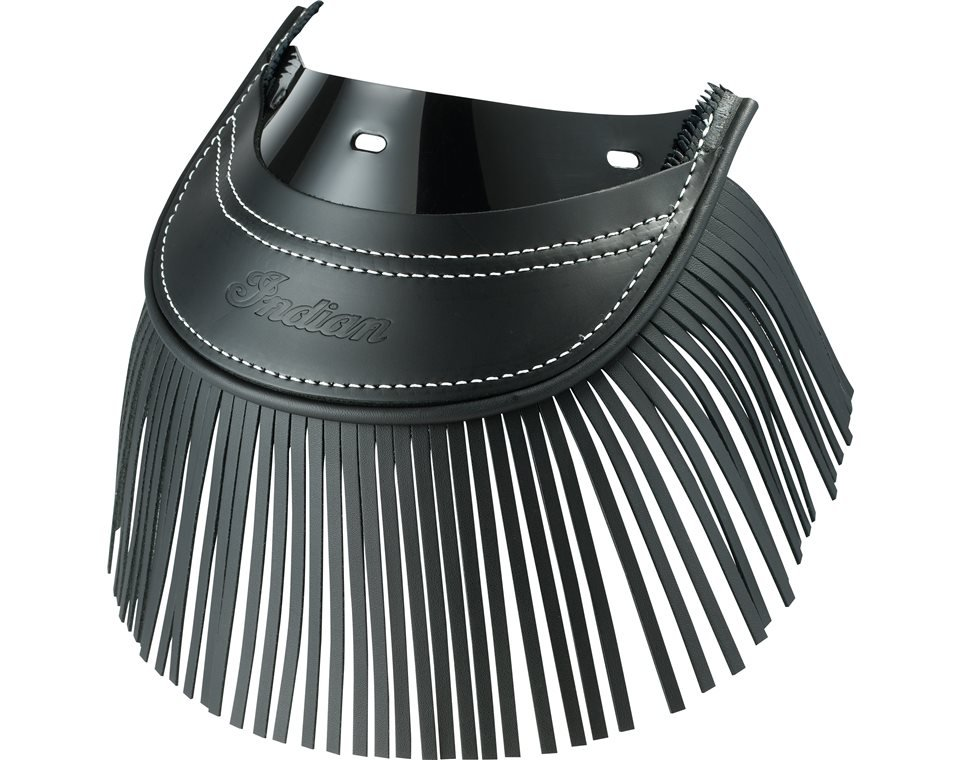 Genuine Leather Rear Mud Flap With Fringe – Black