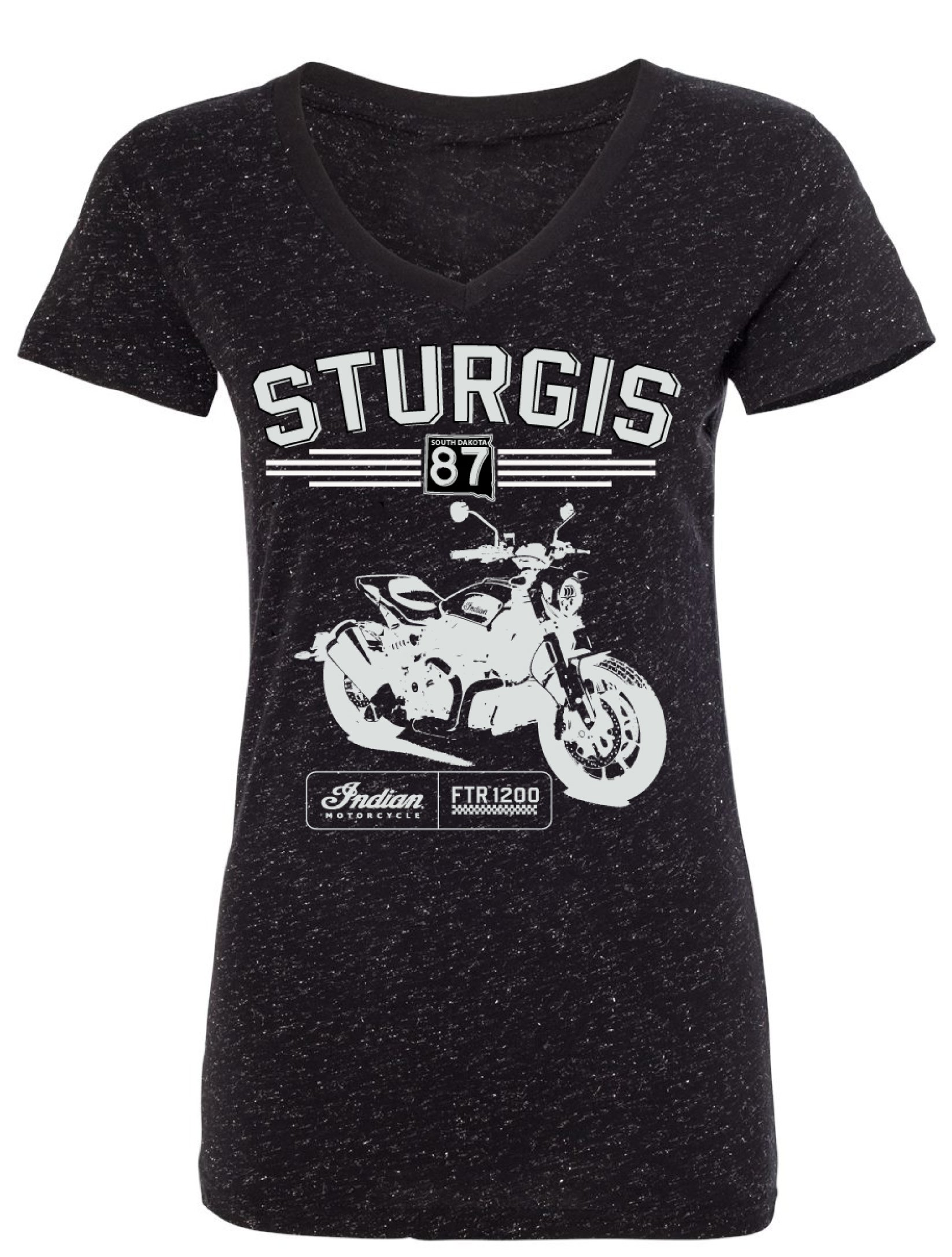 Indian Motorcycle Sturgis Ladies V-neck FTR Black Tee with Silver Sparkle