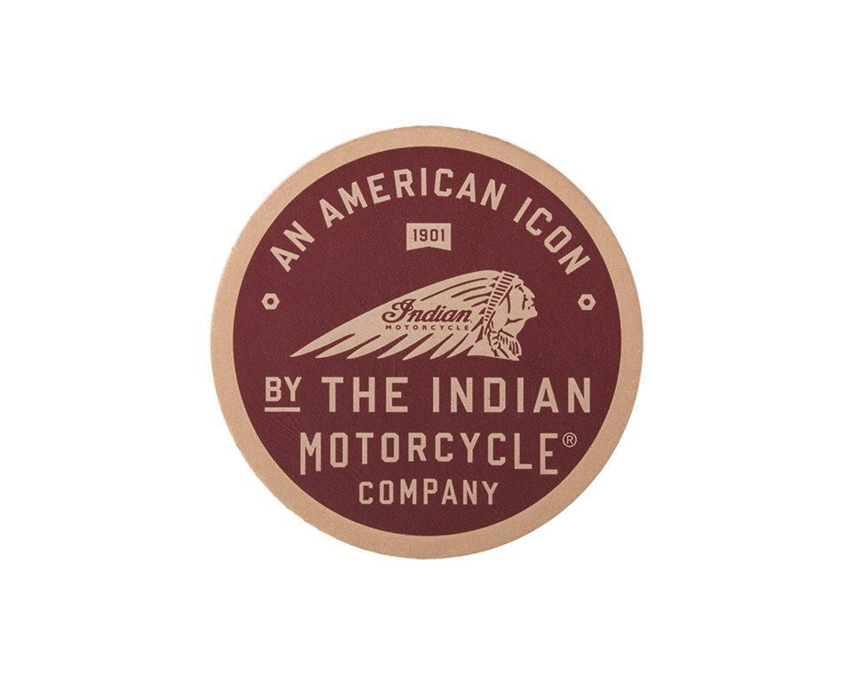 American Icon Logo Leather Patch, Red