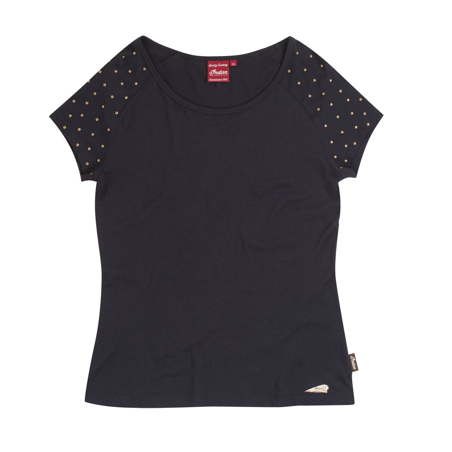 Women's T-Shirt with Studded Shoulder Design, Black