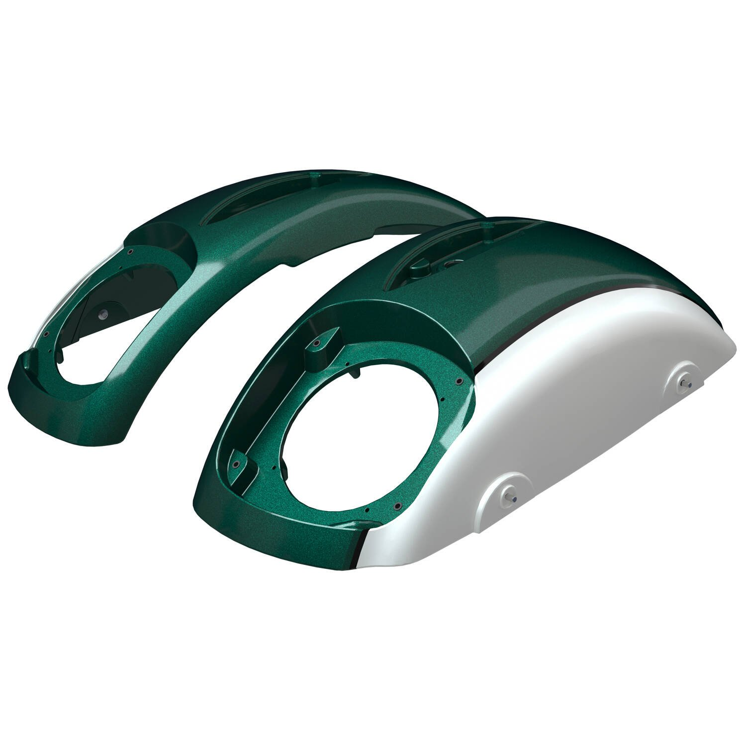 PowerBand Audio Classic Saddlebag Speaker Lids – Metallic Jade over Pearl White