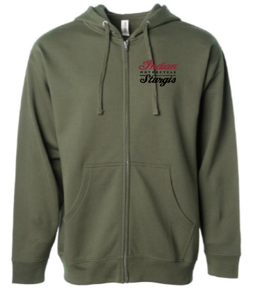 Indian Motorcycle Sturgis Zip-Up Headdress Hoodie in Army Green