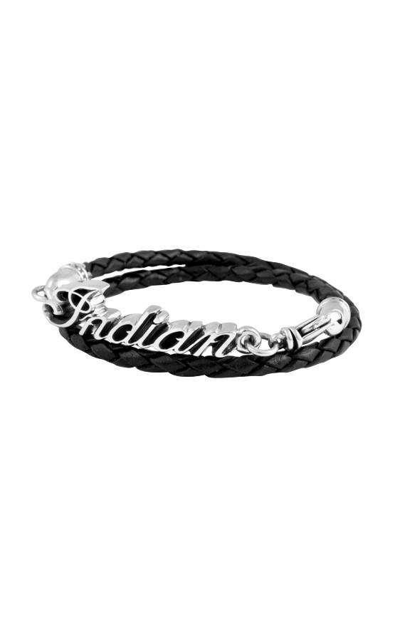 Thin Braided Black Leather Indian Script Logo Double Wrap Bracelet