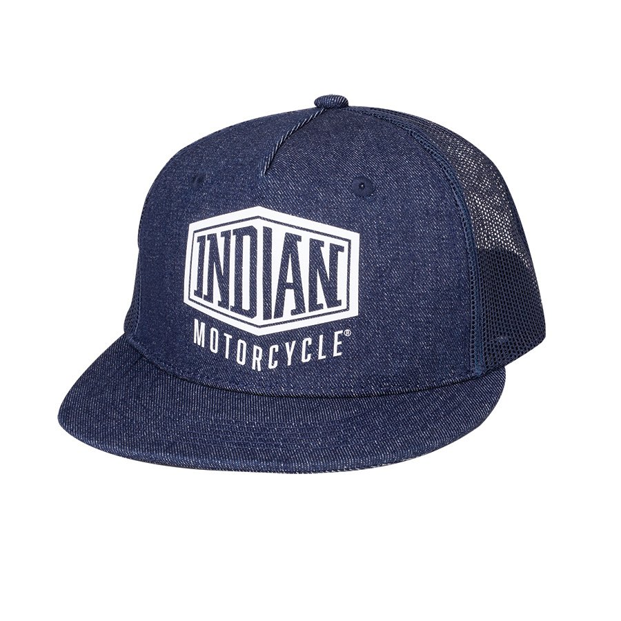 High Profile Denim Trucker Hat, Blue