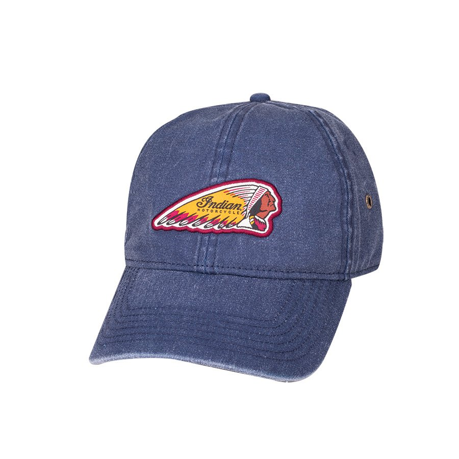 Curved Skip Hat with Woven Headdress Logo Patch, Blue