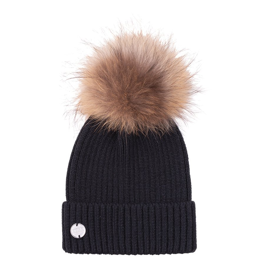 Women's Knitted Pom Pom Beanie, Black