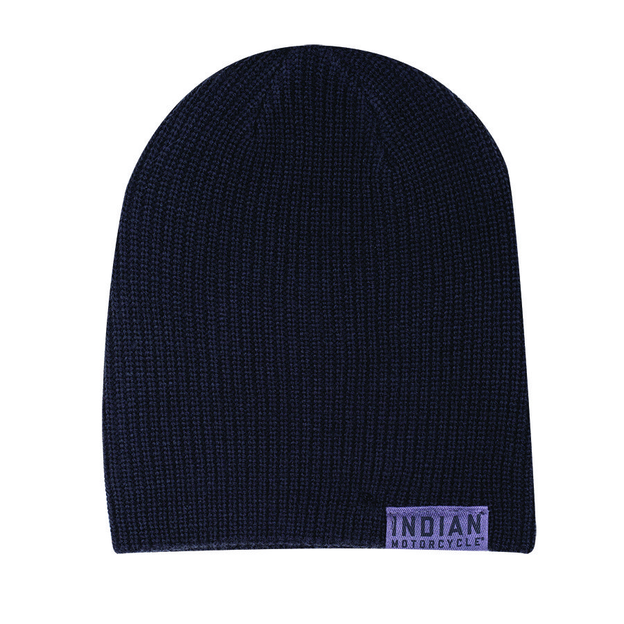 Knitted Beanie with Block Logo, Black