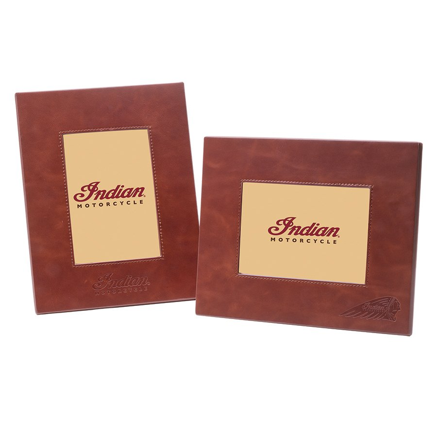 Leather Photo Frame, Brown, Set of 2