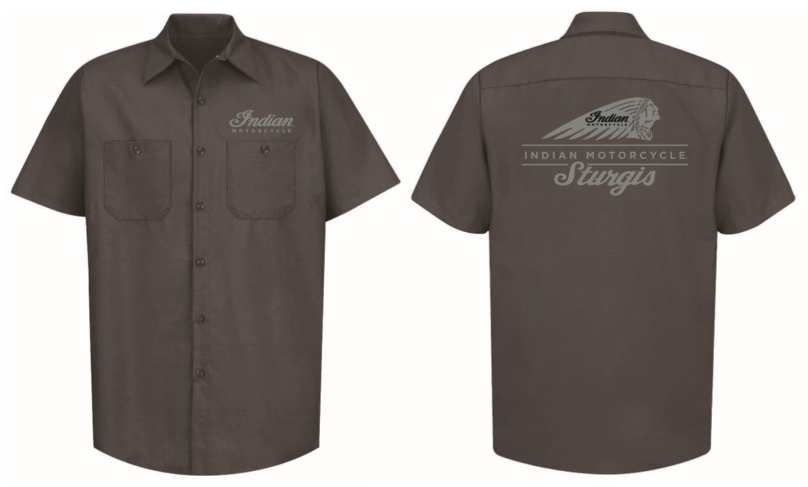 Indian Motorcycle Sturgis Shop Shirt in Gray with Gray Stitching