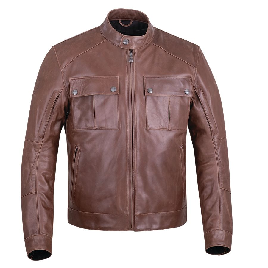 Men's Leather Getaway Riding Jacket with Removable Liner, Brown