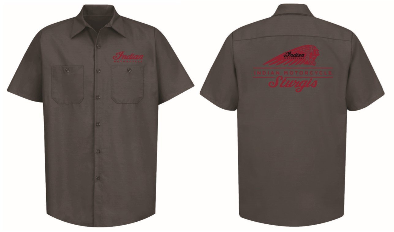 Indian Motorcycle Sturgis Shop Shirt in Gray with Red Stitching