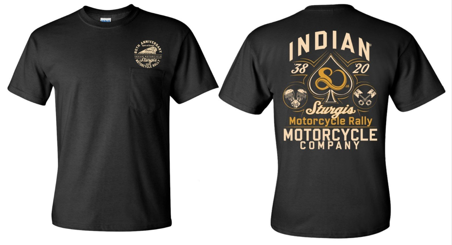 Indian Motorcycle Sturgis 80th Rally Spade T-Shirt – Black