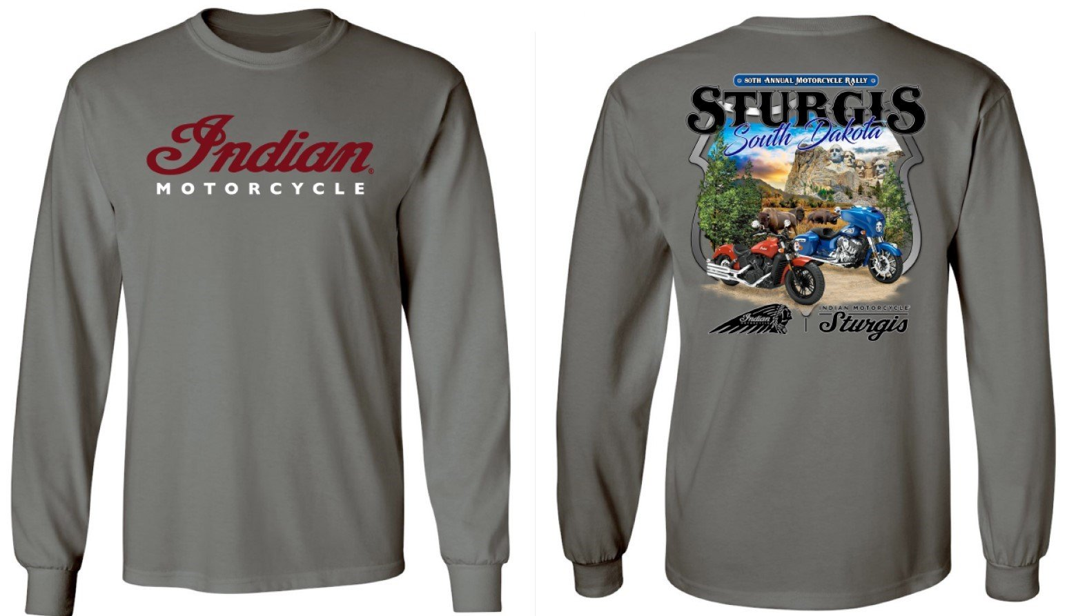 Indian Motorcycle Sturgis Men's Long Sleeve 80th Rally T-Shirt – Grey
