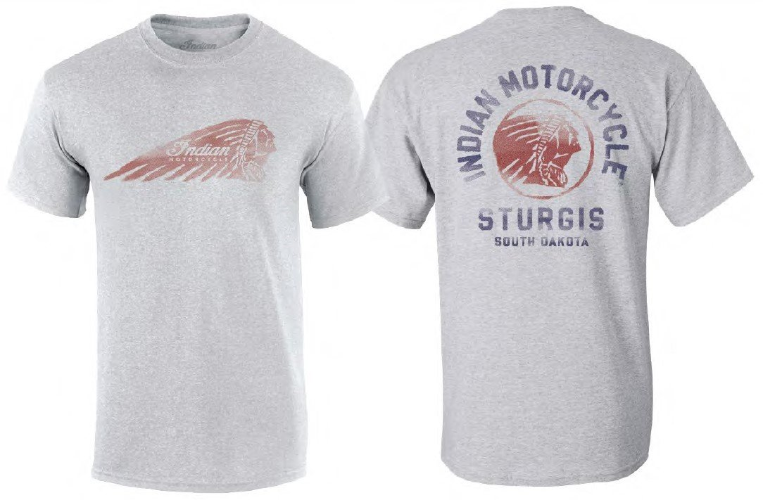 Indian Motorcycle Sturgis Men's Circle Painted Headdress T-Shirt – Light Grey