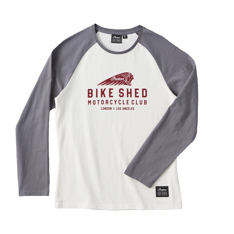 Women's BSMC x Indian Motorcycle Long Sleeve Slim Fit Baseball Tee, Gray/Cream
