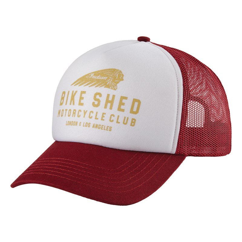 BSMC x Indian Motorcycle Foam Hat, White/Port/Tan