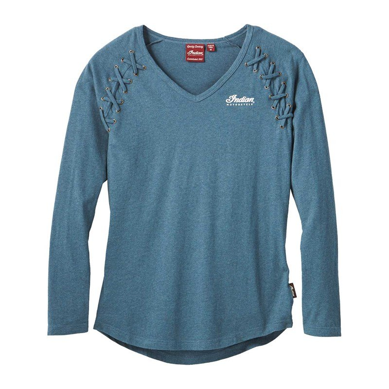 Women's Long Sleeve Laced T-Shirt, Teal