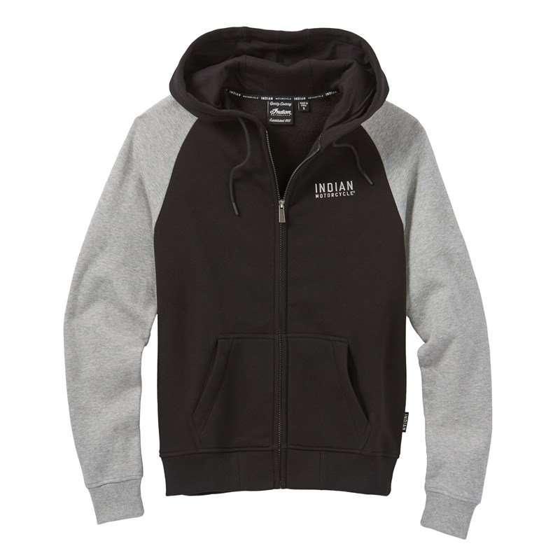 Women's Contrast Sleeve Hoodie Sweatshirt, Black