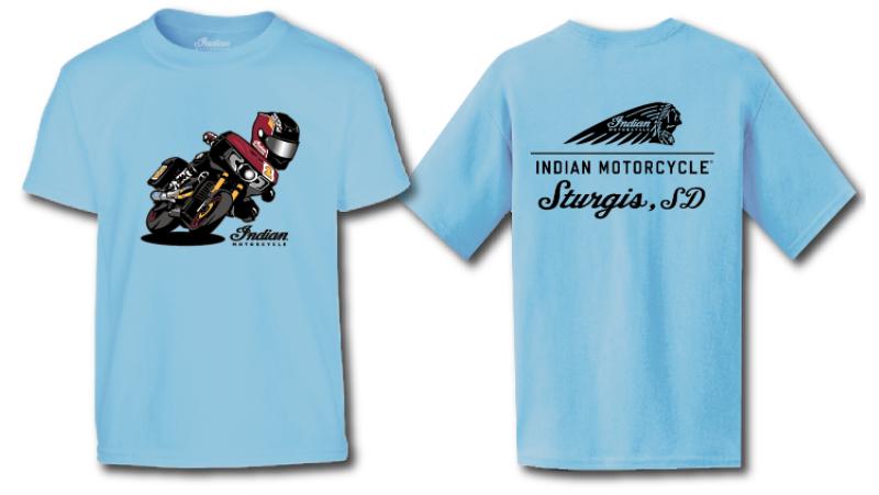 Indian Motorcycle Sturgis Kids Cartoon Tee- Blue