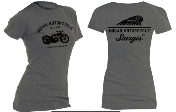 Indian Motorcycle Sturgis Ladies Vintage Tee- Grey